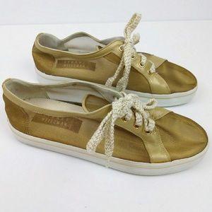 Stuart Weitzman Gold Mesh Sneakers, 7.5